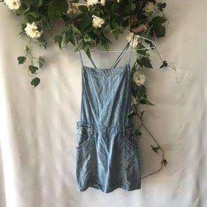 Free people mini skirt overalls